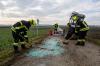 Traktor bei Abbiegemanöver umgestürzt